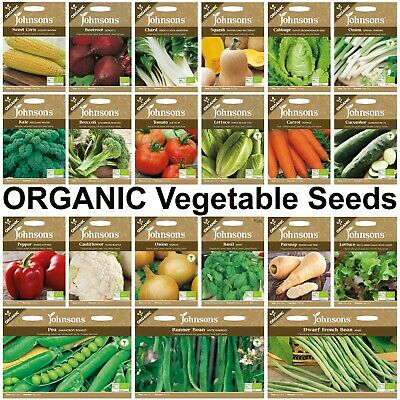 Organic Vegetable Seeds Selection By Johnsons FREE UK DELIVERY Fresh Seeds Herbs • 4.60£