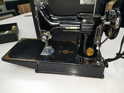 $307 • Buy Singer 221 Featherweight Vintage Sewing Machine + Accessories *Beautiful*