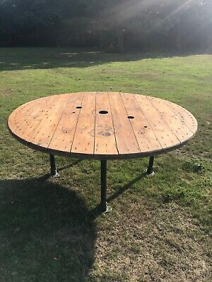 Large Banqueting Industrial Rustic Cable Drum Dinning Table Seats 8-10 • 170£