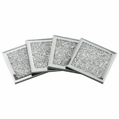 Set Of 4 Mirrored Crushed Crystal Diamond Filled Glass Coaster • 11.99£
