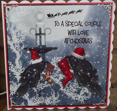 Handmade Personalised Gothic Christmas Card Special Couple Two Raven Crow 2020 • 5.40£