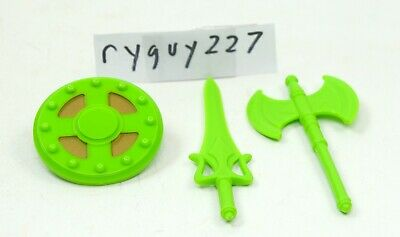 $25 • Buy MOTUC, Green Weapons, Masters Of The Universe Classics, Ax, Parts, Shield, Sword