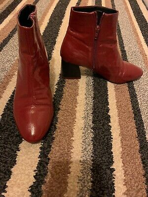 Topshop Burgundy Red Patent Ankle Boots Size 4 Ex Cond • 4.99£