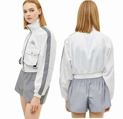 AU12.41 • Buy NWT  Bershka White Reflective Nylon Jacket    Sizes: S, M, L
