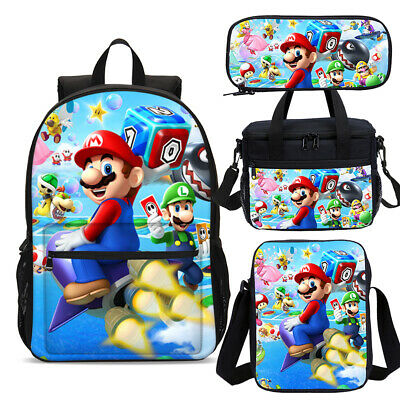 Super Mario Backpack School Insulated Lunch Bag Pen Case Lot Boys Girls Gift • 9.99£