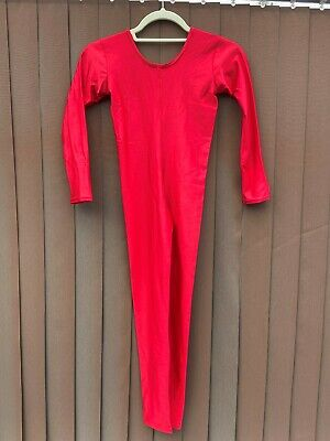 Childs Dance Costume - Red Long Sleeved Catsuit 11/13 Years - New • 3£