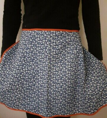 Retro Vintage Style Kitchen Half Apron Pinny Blue Floral Fabric • 5.90£