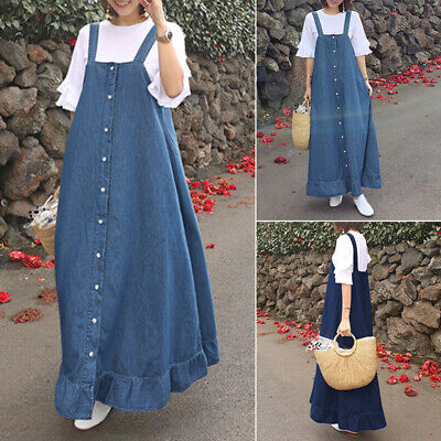 AU15.59 • Buy ZANZEA Women Summer Plain Solid Basic Denim Sundress Overalls Pinafores Dress