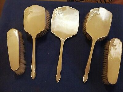 1956 W G Sothers Birm' 5 Piece Sterling Silver Backed Dressing Table Set • 33£