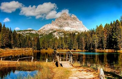 £6.82 • Buy Stunning Mountain Lake Trees Canvas Picture Poster Print Wall Art Unframed #2095