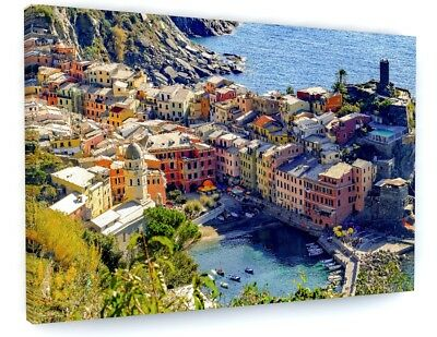 Stunning Italian Town River Landscape Canvas Picture Print Wall Art #4688 • 28.06£