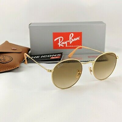 AU59.40 • Buy Ray-Ban Round Metal RB3447 112/51 50mm Light Brown Gradient Lens Gold Sunglasses