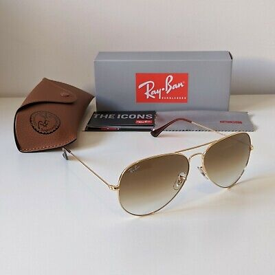 AU59.90 • Buy Ray-Ban Aviator Class 62mm - Gold Frame Brown Gradient Sunglasses - RB3026 62-14