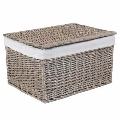 Antique Wash Wicker Storage Hamper Rectangular Basket Woven Lined With Lid • 51£