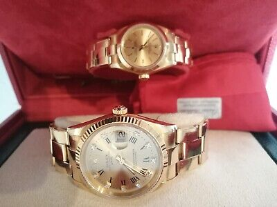 ROLEX OYSTER PERPETUAL 18 CARAT GOLD HIS And HERS WATCHES • 13,295£
