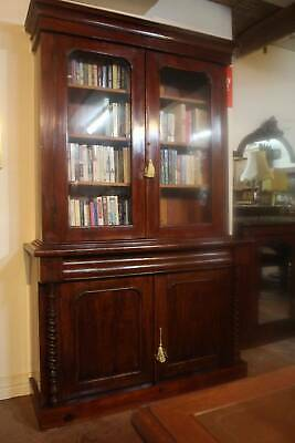 AU1595 • Buy A Victorian Cedar Glazed Bookcase With Barley Twist - Display Cabinet