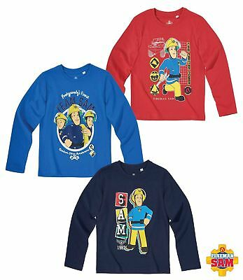 New Long Sleeve Shirt Boys Fireman Sam Blue Red 104 116 128 140 #90 • 12.73£