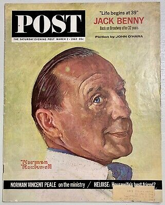 $ CDN6.70 • Buy Saturday Evening Post Norman Rockwell Cover 1963/03/02 Jack Benny