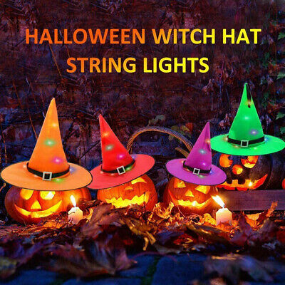 $ CDN29.13 • Buy 6x Halloween Decorate Hanging Lighted Glowing Witch Hats Outdoor Lantern Lights