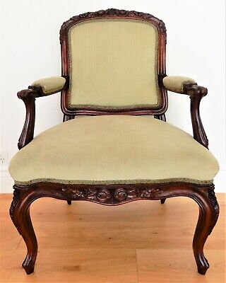 AU295 • Buy Antique French Provincial Style Louis XV Arm Chair Solid Carved Mahogany