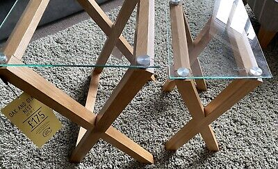 NEXT HOME Oak & Glass Table Nest • 58£