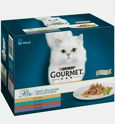 Gourmet Cat Food Perle Chefs Collection Mini Fillets In Gravy Pouches  BOX OF 12 • 9.35£