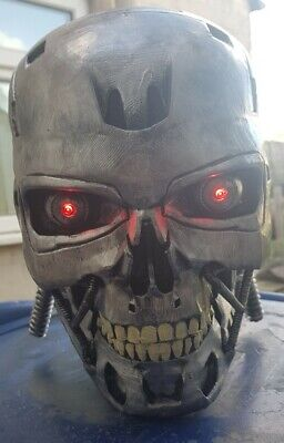 Terminator T800 Life Size Hand Painted Head With Light Up Eyes • 60£