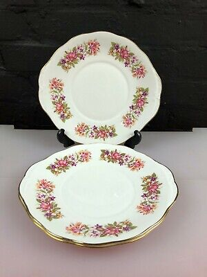 3 X Colclough Wayside Honeysuckle Eared Cake / Bread Plates 26.5 Cm Wide • 19.99£