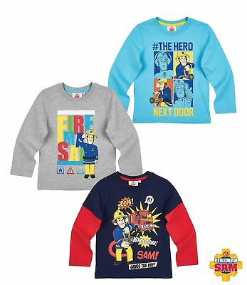 Long Sleeve Shirt Boys Fireman Sam Turquoise Grey Blue 98 104 110 116 128 #34 • 10.67£