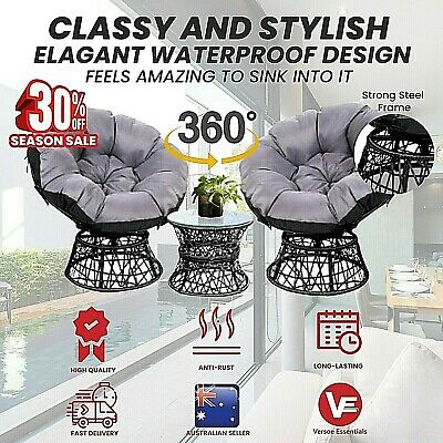 AU520.95 • Buy Rattan Outdoor Lounge Setting Furniture Papasan Chairs Table Wicker Sofa Chair