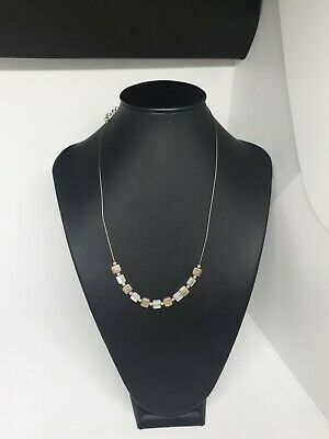 AU8 • Buy Diva Small Square Silver Tone & White Beads On Wire Choker Necklace