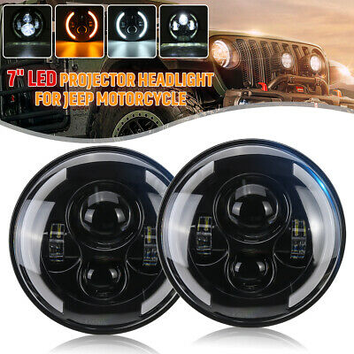 AU62.99 • Buy 2x 7'' Round LED Projector Headlight Hi-Lo Beam DRL Halo For JEEP JK GQ PATROL