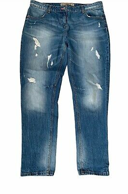 NEXT Women's Jeans Slouch BoyFit 14XL L 31  Blue Distressed Ripped Mid Rise  • 15£