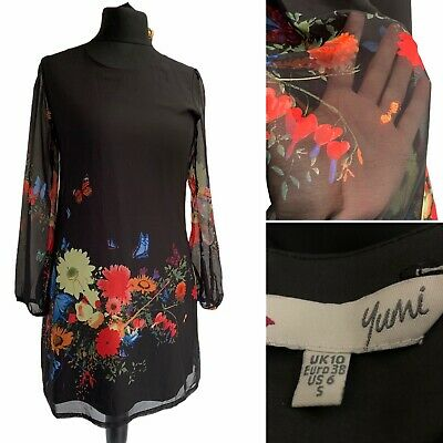 YUMI Dress Size 10 Black Shift Chiffon Sleeve Multicoloured Floral Butterflies  • 20£