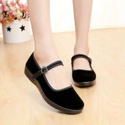 Ladies Chinese Mary Jane Shoes Ballerina Velvet Fabric Cotton Sole Flats   • 10.76£