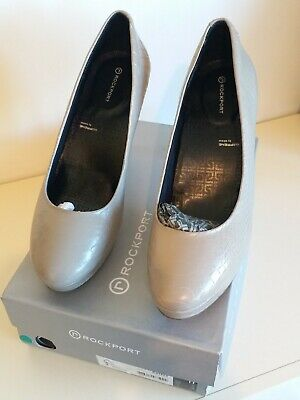 ROCKPORT Croc Real Leather LADIES JANAE PUMP COBBLESTONE GREY SIZE UK 8 In Box • 10.99£