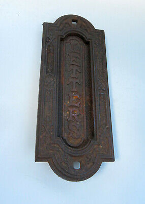Antique Vertical Cast Iron Letter Box / Letter Plate, Registered V2692 - LETTERS • 24.99£