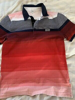 Hugo Boss Boys Striped Polo Shirt Age 12-xs *other Items Can Combine Postage* • 10£