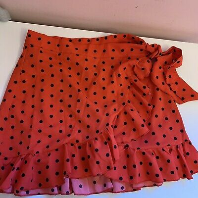 Shein Red And Black Polka Dot Wrap Skirt In Size Medium/10 • 2.80£
