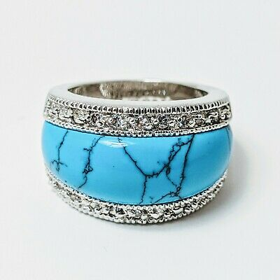 $ CDN38.99 • Buy Lia Sophia Ring  Premise Turquoise Howlite With Silvertone Band Size 7