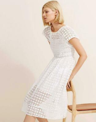 AU49 • Buy COUNTRY ROAD Vanilla White Embroidered Broderie Cotton Midi Dress 8 Fits To 12