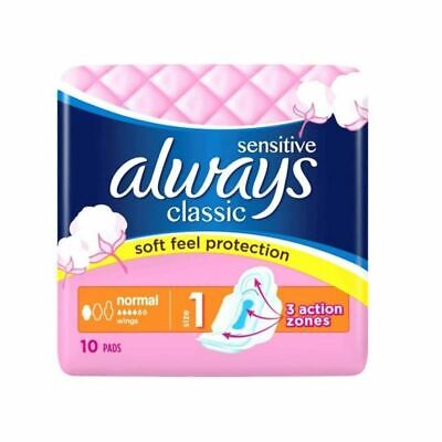£5.62 • Buy Always Classic Sensitive Normal Pads With Wings - Size 1 - 10 Pads