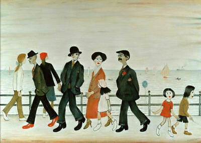Framed LS Lowry Print – On The Promenade (Picture Painting Poster Artwork Art) • 7.95£