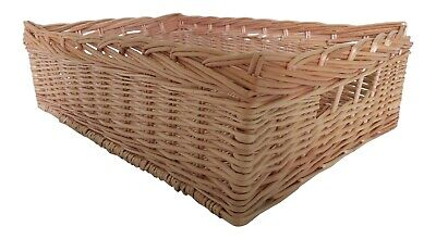 Shallow Wicker Storage Basket Large Medium Small Willow Kitchen Drawer Hamper • 15£