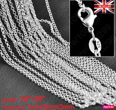 £3.14 • Buy UK 925 Sterling Silver Stamp 1mm-3mm Plated Linked Rolo Necklace Chain 16 -30