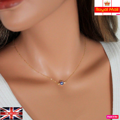 UK New Evil Eye Necklace Blue Eye Statement Pendant Silver Chains Jewellery Gift • 3.99£