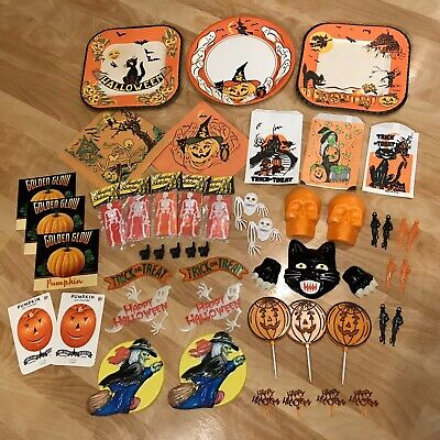 $ CDN77.97 • Buy Vintage Halloween Party Decorations Lot Pumpkin Skeleton Black Cat Cake Topper