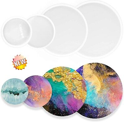 £5.49 • Buy Agate Coaster Resin Casting Mold Silicone Jewelry Making Epoxy Round Mould Craft