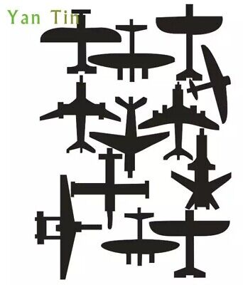 $11.39 • Buy NEW 24 Pieces Black Military Airplanes Vinyl Wall Car Phone Laptop Decor Decals