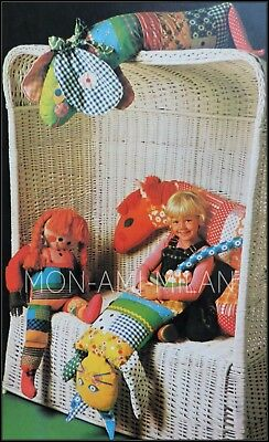 RAG DOLL CAT DOG HORSE Sewing Pattern Photocopy To Make PATCHWORK TOYS ANIMALS  • 2.99£